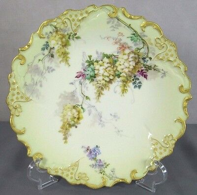 Limoges Hand Painted Plate: Antique G.D.(Demartine) & Cie Wisteria Charger c1890