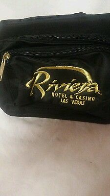 Riviera Las Vegas Casino Hotel Black Fanny Bum Pack Gold Embroidered Logo