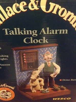 Wallace & Gromit Talking Alarm Clock In Original Box By Wesco