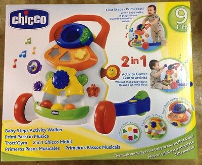 New In Box CHICCO Baby Steps Activity Walker 2 in1 Push Along Walker Stop & Play