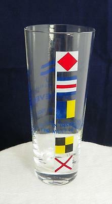 """Lusteveco Shipping Drinking Glass Flags Philippines 7"""" tall VGUC since 1909"""
