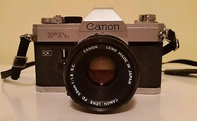Vintage Canon FTb Film SLR with 50mm f:1.8 Canon Lens