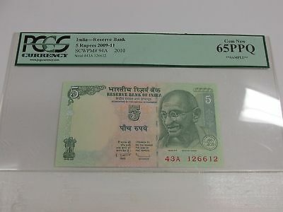 2010 India Reserve Bank 5 Rupees Note PCCS Gem New 64PPQ Sample