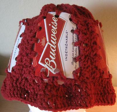 BUDWEISER beer can label hat crochet  NEW
