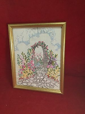 Vintage Needlepoint Embroidery Garden Flowers Plants Crewel Ribbon Pink Arch