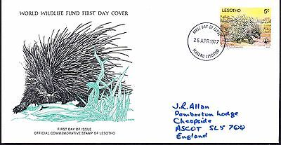 FDC - Lesotho - 1977 World Wildlife Fund, The Porcupine - First Day Cover