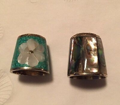 Vintage Thimbles (2) Turquoise Chip/Mother Of Pearl And Abalone
