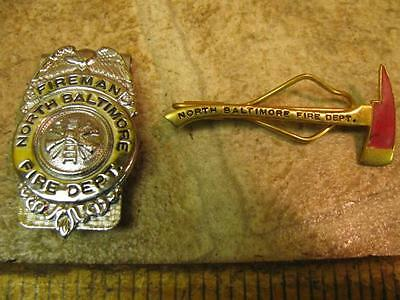 Vintage North Baltimore Fireman Fire Dept Badge Clip and Fire Axe Tie Ohio