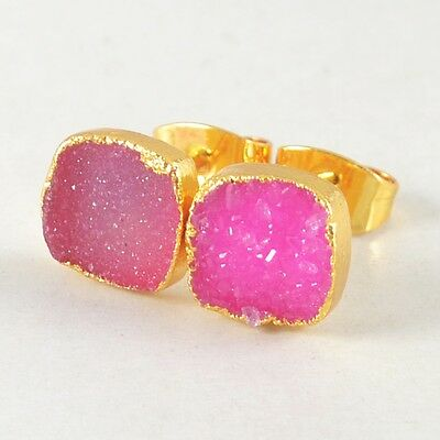 8mm Square Hot Pink Agate Druzy Geode Stud Earrings Gold Plated T026029