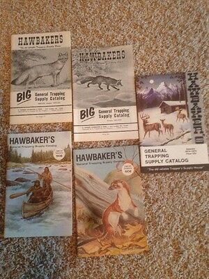 Five 70's & 80's Hawbakers Trapping Supply Catalogs