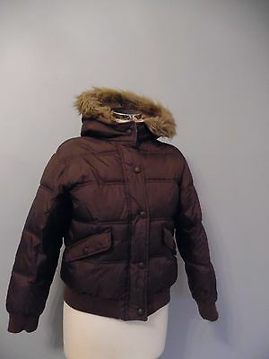 Girls Next Brown Puffer Hooded Jacket Age 11-12 Years