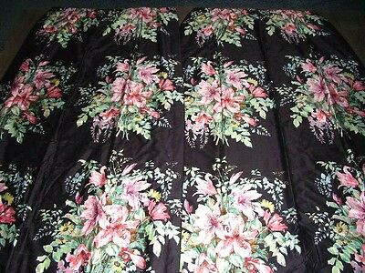 Vintage stunning black floral Sanderson chintz cotton pair thermal curtains