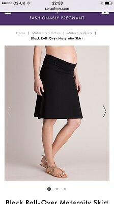 Seraphine Black Roll Over Maternity Skirt Size 10