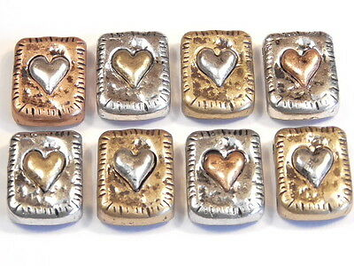 8 - 2 Hole Slider Beads Tri Color Silver, Rose, Copper Petite Heart Rectangles