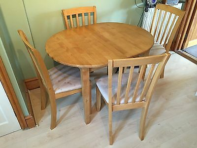 Solid Ash Extending Dining Table and 4 Chairs