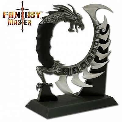 Knife 9 Blades Dragon Fantasy W/Wooden Display Stand