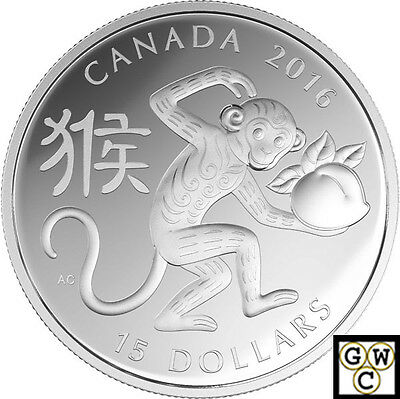 2016 Year of the Monkey (Type #2 - Round) Prf $15 Silver .9999 Fine (NT) (17424)