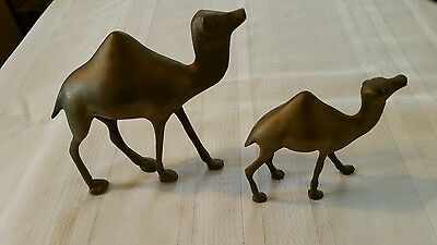"""2  BRASS CAMEL FIGURINES  6 1/4"""" AND 3 3/4"""" Made in India"""