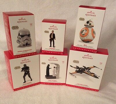 Hallmark 2016 Star Wars Ornaments FULL SET 6- BB8 X WING HANS SOLO STORMTROOPER