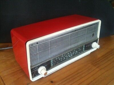 Cool Vintage Hot Rod Red Phillips Mmw01 Valve Radio Working Order Retro Project