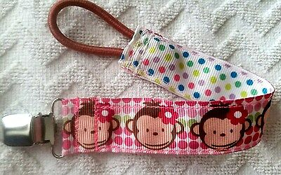 Baby Soother/Pacifier Holder w/Metal Clip/Monkeys/New