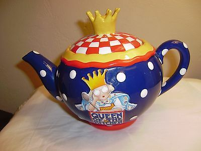 """Rare MARY ENGELBREIT Teapot """"Queen of the Kitchen""""  Polka Dots and a Crown  1999"""