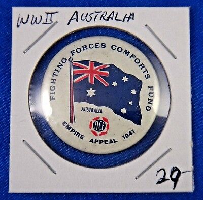 Original Vtg WWII WW2 Fighting Forces Comforts Fund Australia Pin Pinback Button