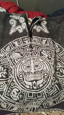 Black and White Authentic Imported Mexican Poncho REVERSABLE