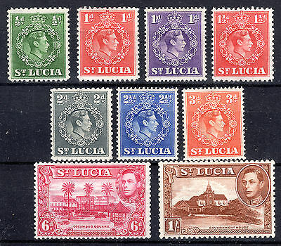 St Lucia 1938-48 items-mounted mint 6d P13.5  & 1/- P12