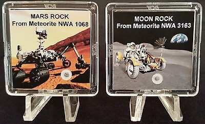AUTHENTICATED MOON & MARS METEORITE COMBO- 2 Deluxe Rock Displays w/ Easels   rr