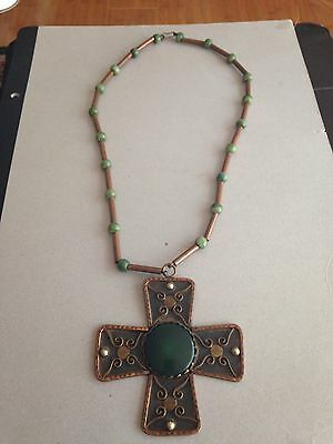 "COPPER MODERNIST Vintage Pendant NECKLACE Green ACCENT / 26"" Beaded Necklace"