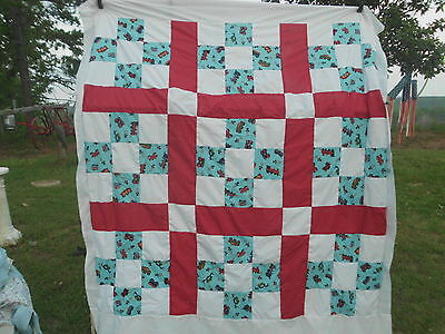 """Quilt Top73X83 In""""~Train~ 9 Patch ~All Cotton Set Together With Red"""