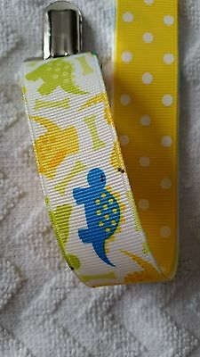 Baby Soother/Pacifier Holder w/Metal Clip/Dinosaurs/New
