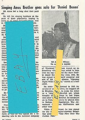 1965 Ed Ames Tv News Guide Article Clipping Singing Ames Brother Goes Solo