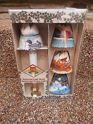 New 1998 Spin Shades 4 Seasons Revolving Lamp Shade on Electric Candle Lamp