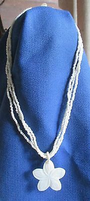 Costume Jewelry White Flower Necklace From Hawaii