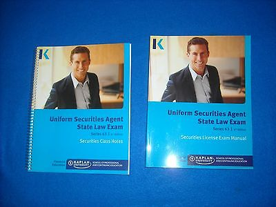 Kaplan Series 63 Uniform Securities State Law Exam Class Notes and Manual 6th ED