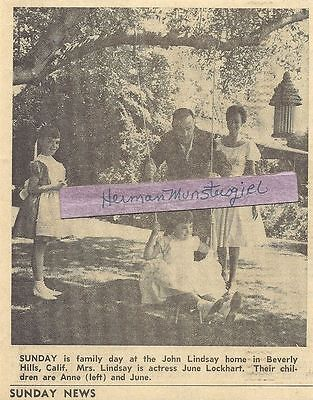 1961 June Lockhart Tv Guide Ad Clipping With Her Family John Lindsay