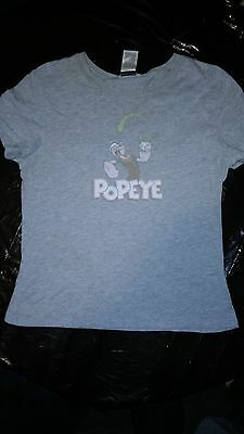 POPEYE The Sailor Man Holding Eating Spinach  Cartoon Tv Show Girls XL T SHIRT