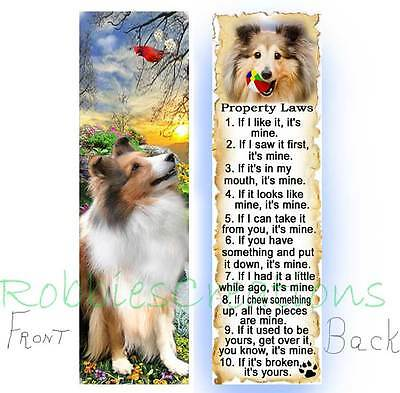 SHELTIE BOOKMARK Sable DOG RULES Property LAW Book Mark Card ART Collie Sheepdog