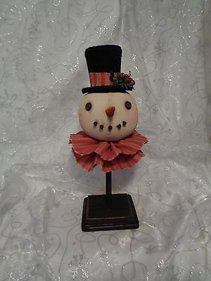Handmade Primitive Folk Art Snowman Doll with Top Hat on Pedestal