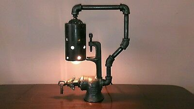 Vintage Machine Age Repurposed One Of A Kind Steampunk Table Lamp Art