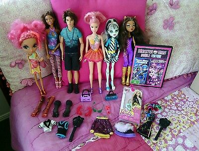Monster high dolls, barbie etc. Bulk lot including DVD, clothes and accessories.