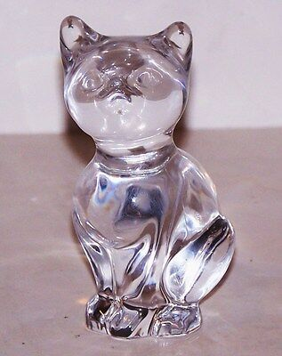 Stunning Signed Daum France Crystal Cat Kitten Figurine/paperweight