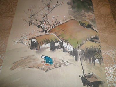 Signed Antique Hanging Japanese Scroll Hand Painted Village House Scene Silk