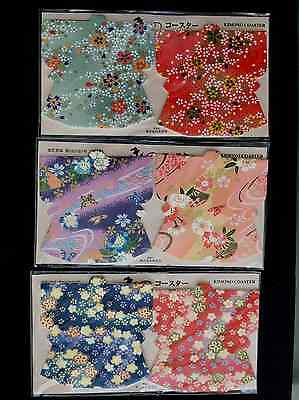 Lot of 6 New Japananese Paper Kimono Coasters