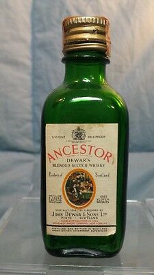 "Vintage Ancestory Dewer's Scotch Whskey Mini Bottle 3.75"" tall"
