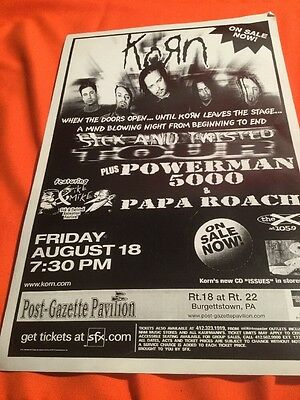 Korn  Original Concert Poster 17X11 Issues - Pittsburgh Show -Mint