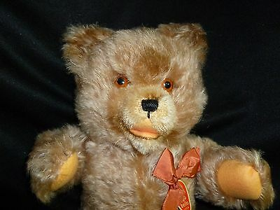 """Vintage Schuco Teddy Bear in ORIGINAL BOX Mohair with TAG 13"""" Tall MINT"""