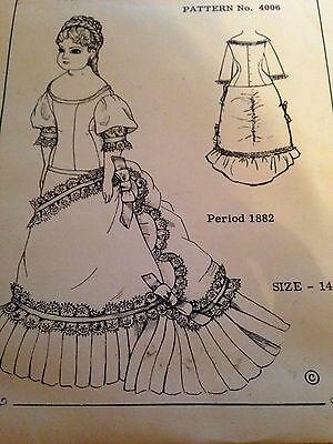 """14"""" ANTIQUE FRENCH CHINA DOLL DRESS PATTERN Period 1882"""